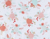 For Tracy Laminated cotton aka oilcloth tablecloth fitted with elastic Piper Floral coral aqua flowers on white  PLUS fabric snippets
