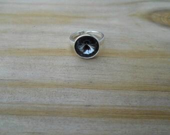 Silver Night Swarovski Rivoli Adjustable Ring