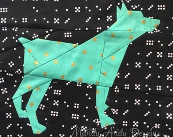 Miniature Pinscher Dog Silhouette Paper Piecing Pattern