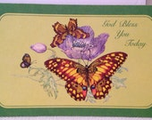 Vintage Cards, Unused, Set of 2 God Bless You Today Comfort Greeting Cards, Religious Bible Verse, Butterfly, Green, Nature