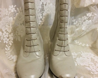Lovely Off White Granny Boots