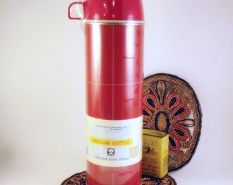 New Red THERMOS Bottle Tall Vintage Factory Wrapped Plaid