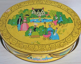Vintage Yellow Picnic Basket Tin with Victorian Images