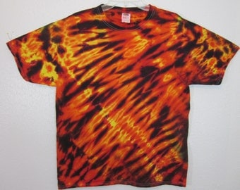Tie Dye Unisex Size Large Fire Diagonal Stripe