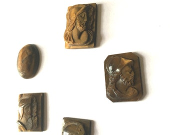Lot of Old Carved Tigers Eye Cabochons