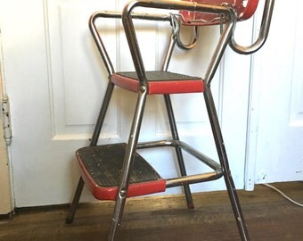 Red Metal Stool - With Fold Out Step