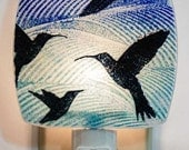 Hummingbird Night Light Made with Recycled Windows