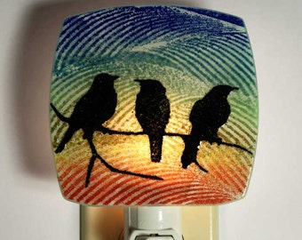 Three Birds Night Light Made with Recycled Windows