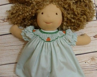 15 inch Doll Smocked Bishop featuring Pumpkins  Ready to Ship