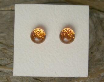 Dichroic Glass Earrings, Sienna  DGE-855