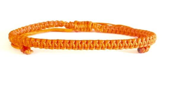 Neon Orange Cotton Fair Trade Classic Friendship Bracelet Thai Buddhist Wristband Handcrafted Wristwear
