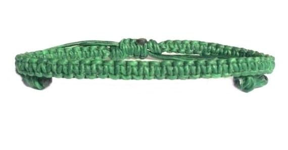 Green Wax Cotton FAIR TRADE Classic Thai Buddhist Wristband BRACELET Handcrafted Wristwear