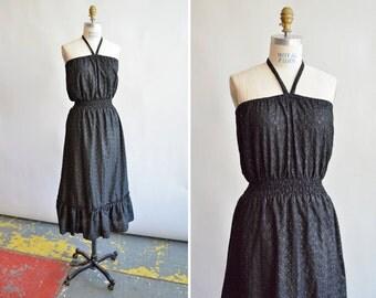 Vintage 1970s eyelet HALTER dress