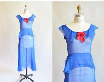 30% off storewide /// Vintage 1930s SILK chiffon dress