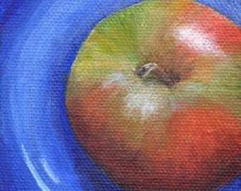 Mini Painting of Red Apple on Blue Plate, Original Small Painting, Acrylic Painting Food Art