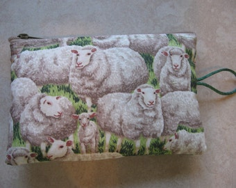 sheep print padded makeup jewelry bag