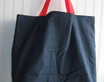 blue denim washable fabric tote bag, shopping bag