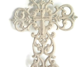 Metal Wall Cross Shabby upcycled Cream /White Large Cross Religious Goth rustic wall decor