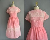 r e s e r v e d...50s plus size pink cotton floral vintage dress / vintage 1950s dress
