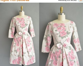 25% off SHOP SALE... 50s pink rose chiffon vintage cupcake dress / vintage 1950s dress
