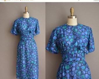 25% off SHOP SALE... 50s blue silk vintage wiggle dress / vintage 1950s dress