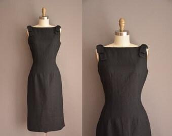 Sue Brett dress / black wiggle dress / vintage 1950s dress