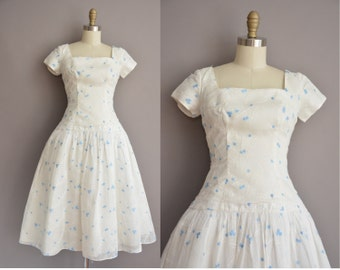 50s white chiffon blue bud vintage party dress / vintage 1950s dress