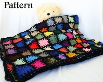 Long stitches scrap yarn afghan PDF crochet PATTERN colorful lap throw blanket squares bedding patchwork quilt-style blanket stitch look