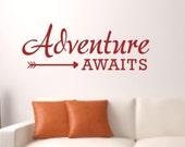 Wall Decal Quote - Adventure awaits arrow Vinyl Wall Decal - Travel Vinyl Wall Decal - Adventure awaits decal - Adventure Vinyl Decal
