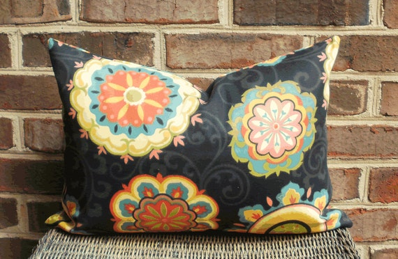 SALE ~  Decorative Outdoor Lumbar Pillow Cover Size 12 X 18 in Black Moroccan Floral Outdoor Fabric