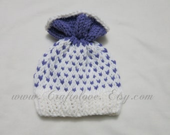 Knit baby hat - Baby Girl Hats - Knit baby girl hat Lavender/White- Baby Girl Beanie - CHOOSE YOUR SIZE - Photography props
