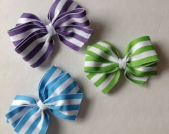 Spring Striped Hair Bow by Cheryl's Bowtique, purple, green, blue