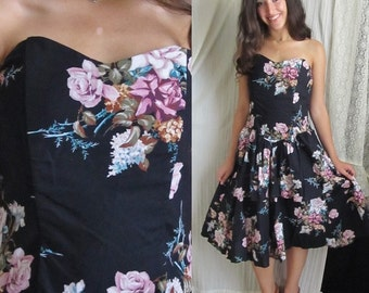 REDUCED PRICE Rose Black Strapless Bustier Dress, Tiers Ruffles Peplum, Full Skirt, Vintage 80s Pin Up