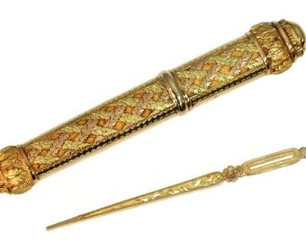 French Antique Gold Sewing Accessories 18k gold needle case original needle Empire style France ca.1819