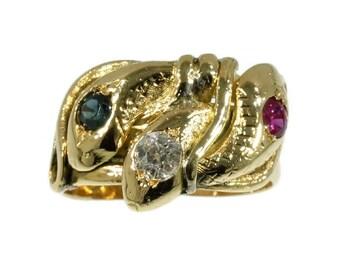 Antique snake ring ruby sapphire diamond 18k rose gold