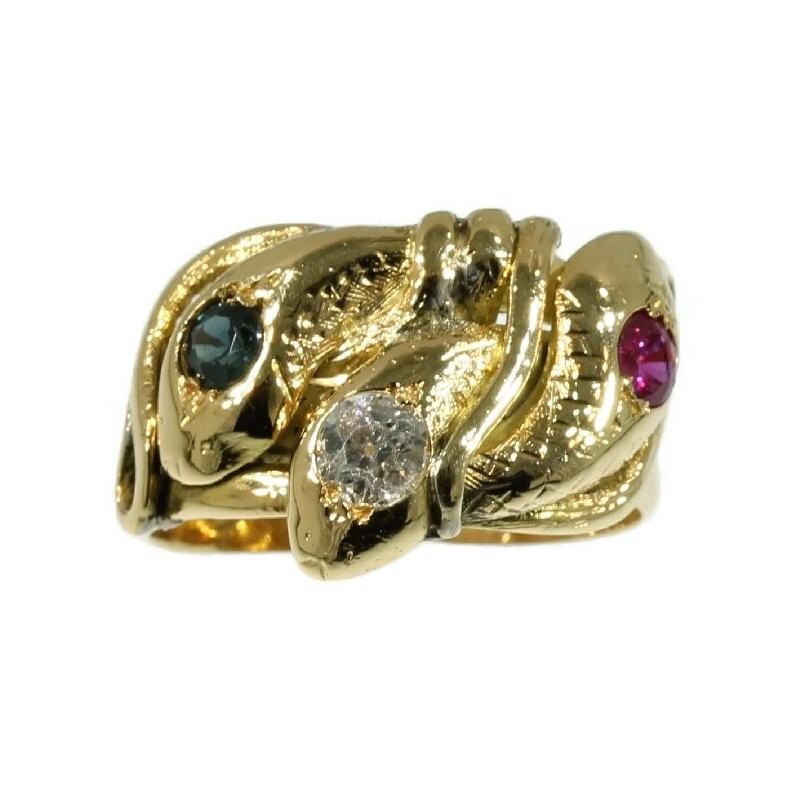 antique snake ring ruby sapphire 18k gold