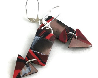 Long dangle earrings triangle and rectangle stoney clay