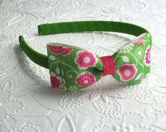 Pink and Green Girls Hard Headband ~ Preppy Headband ~ Bow Headband ~ Toddler Headband