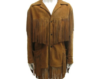Mens Western Fringe Jacket Vintage 1960's Joo Kay Brown Suede BoHo Cowboy Fringe Coat Will Fit Mns Size 50 Made in The USA  Hippie Coat