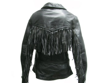 Fringed Motorcycle Jacket Made In England Vintage Womens Black Leather English Style Double Buckle Cycle Jacket Fits Wms Size Medium