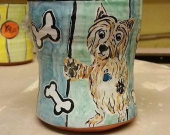 Reserved for George - pair of custom dog mugs for his friends