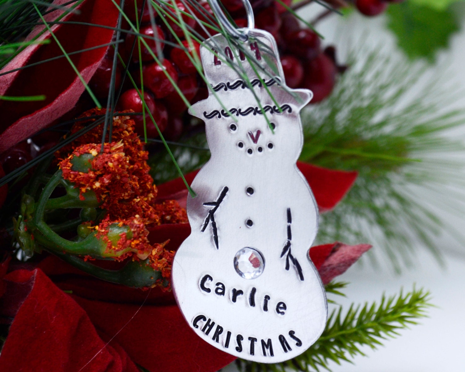 Personalized Snowman Christmas Ornament Hand Stamped