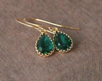 Emerald Earrings,Gold Earrings,Bridal Jewelry,Delicate Earrings,Drop Earrings,Bridesmaids Gift,Bride Earrings,Bridesmaids Earrings