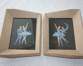 Pair of Vintage Dance Ballerina Pictures Blonde Wood Frames