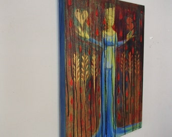 Goddess Art divine feminine prayer for abundance large oil painting on canvas Magic money power abundance love luck spiritual art dark