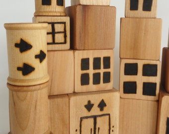 Wood blocks, Wood toys, large block set variety of sizes