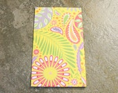 4 Pocket Kraft Folder for PERSONAL Faux Midori Travelers Notebook Yellow Paisley