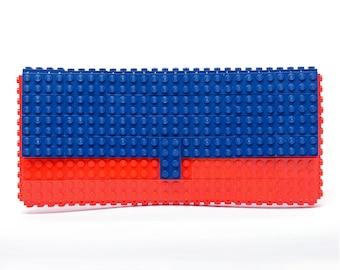 Red & dark blue clutch purse made with LEGO® bricks FREE SHIPPING purse handbag legobag trending fashion lego gift