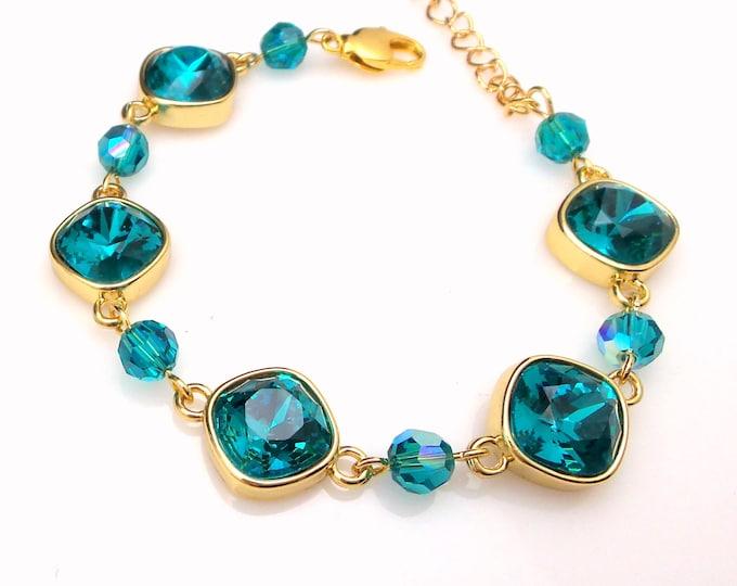 Wedding jewelry bridesmaid party gift bridal gold bracelet prom pageant swarovski blue zircon cushion cut fancy rhinestone chain bracelet