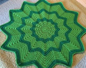 Baby Blanket Green Star Chevron